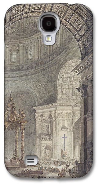 Religious Galaxy S4 Cases - The Glowing Cross In St. Peters, Rome, On Maundy Thursday Pen & Ink And Wc On Paper Galaxy S4 Case by Charles Norry