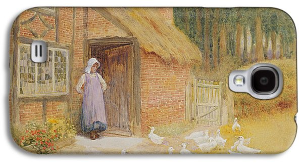 Flock Of Birds Paintings Galaxy S4 Cases - The Goose Girl Galaxy S4 Case by Arthur Claude Strachan