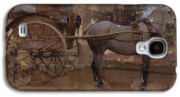 Equestrian Prints Galaxy S4 Cases - The Governess Cart Galaxy S4 Case by Joseph Crawhall