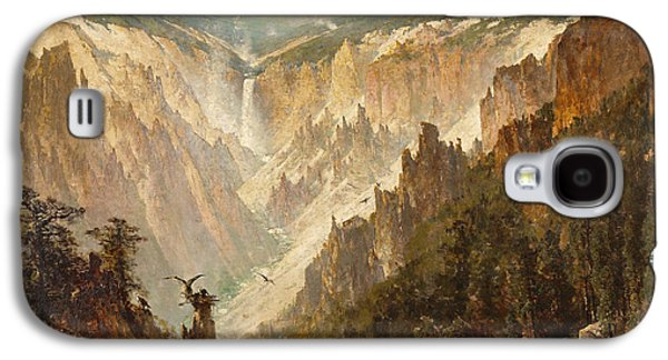 Wyoming Paintings Galaxy S4 Cases - The Grand Canyon of the Yellowstone Galaxy S4 Case by Thomas Hill