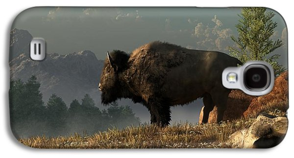 Bison Digital Art Galaxy S4 Cases - The Great American Bison Galaxy S4 Case by Daniel Eskridge