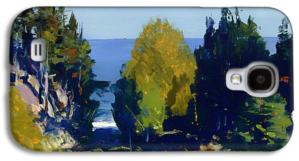 Maine Landscapes Paintings Galaxy S4 Cases - The Grove at Monhegan Galaxy S4 Case by George Bellows