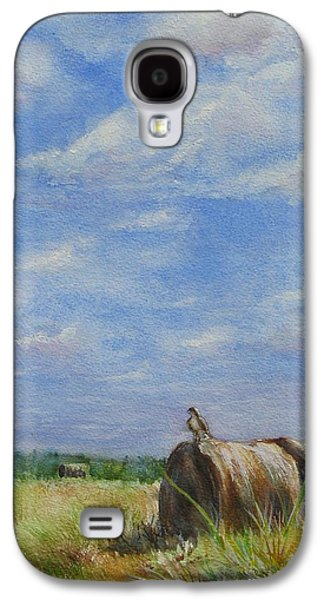 Haybales Paintings Galaxy S4 Cases - The Guardian Galaxy S4 Case by Joan Senkowicz
