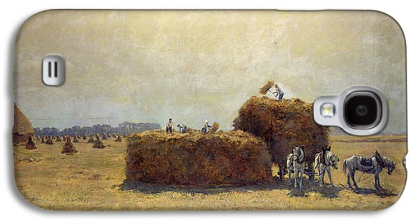Hay Galaxy S4 Cases - The Harvest Oil On Canvas Galaxy S4 Case by Pierre-Georges Dieterle