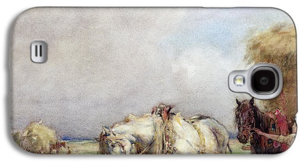 Hay Paintings Galaxy S4 Cases - The Hay Wagon Galaxy S4 Case by Nathaniel Hughes John Baird