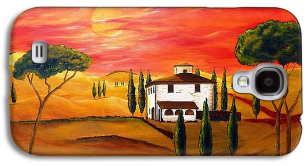 Tuscan Sunset Paintings Galaxy S4 Cases - The Heat of Tuscany Galaxy S4 Case by Christine Huwer