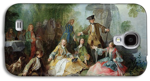 Table Cloth Galaxy S4 Cases - The Hunting Party Meal, C. 1737 Oil On Canvas Galaxy S4 Case by Nicolas Lancret