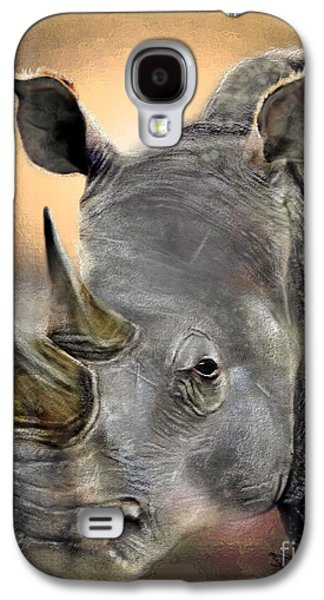 Rhinoceros Paintings Galaxy S4 Cases - The Inevitable Collision-And So I Wait Galaxy S4 Case by Reggie Duffie