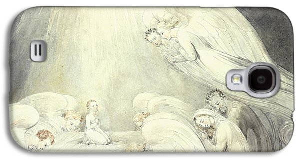 Religious Drawings Galaxy S4 Cases - The Infant Jesus Saying His Prayers Galaxy S4 Case by William Blake