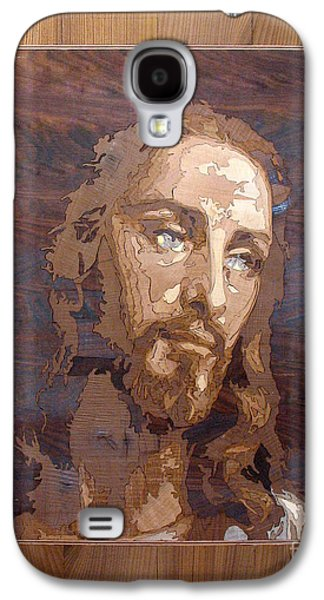 Jesus Reliefs Galaxy S4 Cases - The Jesus Christ Marquetry wood work Galaxy S4 Case by Persian Art