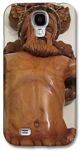 Jesus Reliefs Galaxy S4 Cases - The Jesus Christ Sculpture Wood Work Wood Carving Poplar Wood Great For Church 4 Galaxy S4 Case by Persian Art