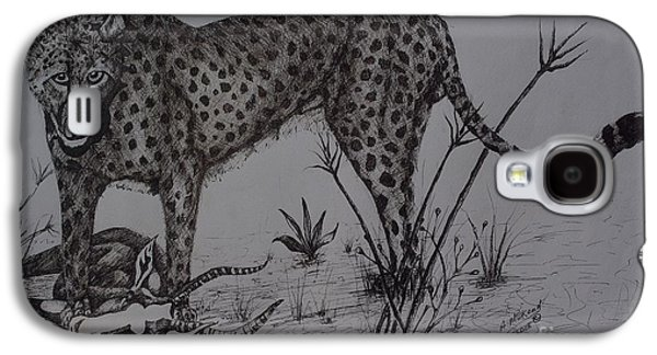 Cheetah Drawings Galaxy S4 Cases - The kill Galaxy S4 Case by Ainsworth Mckend
