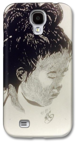 Indian Ink Mixed Media Galaxy S4 Cases - The Korean Girl Galaxy S4 Case by Franky A HICKS