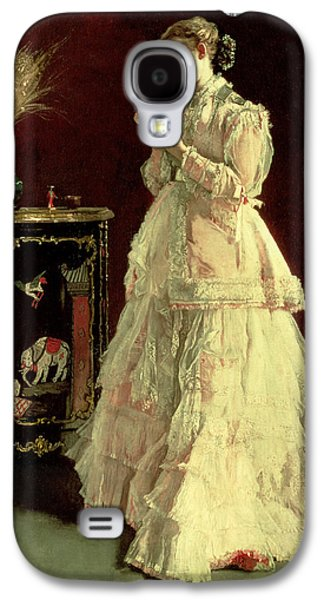 Connoisseur Galaxy S4 Cases - The Lady In Pink, 1867 Oil On Panel Galaxy S4 Case by Alfred Emile Stevens