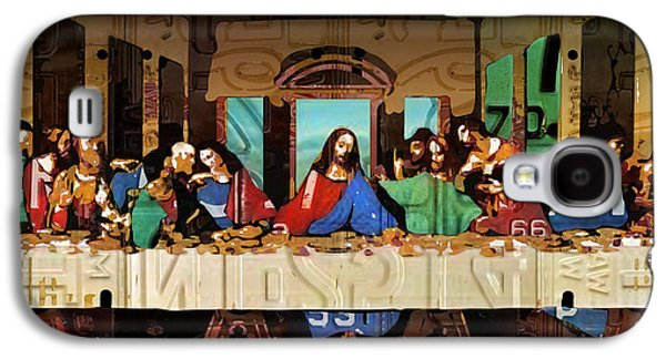 Last Supper Galaxy S4 Cases - The Last Supper by Leonardo Da Vinci Recreated in Recycled Vintage License Plates Galaxy S4 Case by Design Turnpike
