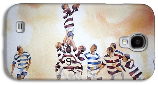 Rugby Paintings Galaxy S4 Cases - The Last Throw Galaxy S4 Case by Judy Shinnick