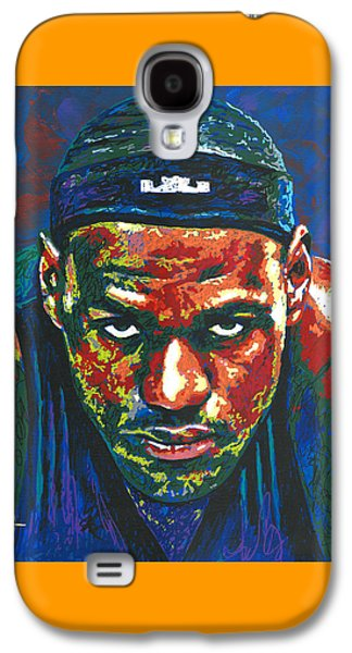 Lebron Paintings Galaxy S4 Cases - The LeBron Death Stare Galaxy S4 Case by Maria Arango