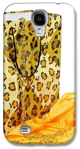 Gold Necklace Galaxy S4 Cases - The Leopard Gift Bag Galaxy S4 Case by Diana Angstadt