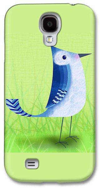 The Letter Blue J Galaxy S4 Case by Valerie Drake Lesiak