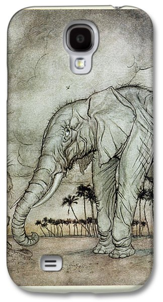 Fantasy Photographs Galaxy S4 Cases - The Lion, Jupiter And The Elephant, Illustration From Aesops Fables, Published By Heinemann, 1912 Galaxy S4 Case by Arthur Rackham