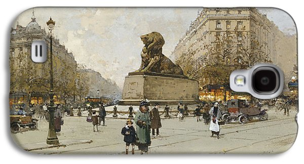 Youthful Paintings Galaxy S4 Cases - The Lion of Belfort Le Lion de Belfort Galaxy S4 Case by Eugene Galien-Laloue