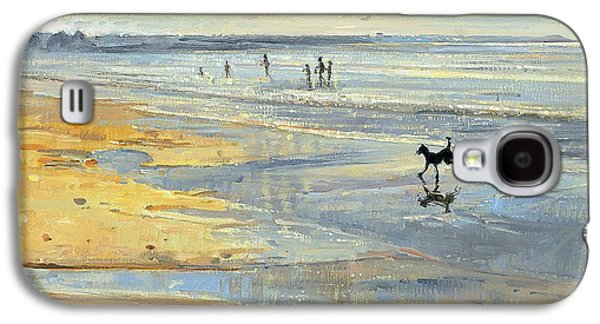 Dog Running. Galaxy S4 Cases - The Little Acrobat Oil On Canvas Galaxy S4 Case by Timothy Easton