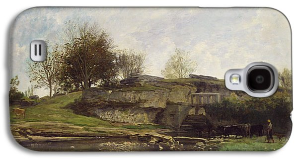 Charles River Paintings Galaxy S4 Cases - The Lock at Optevoz Galaxy S4 Case by Charles Francois Daubigny