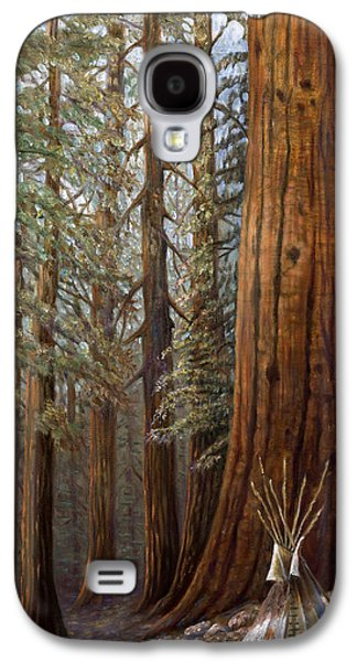 Tree Roots Mixed Media Galaxy S4 Cases - The Lone Tee Pee Redwood Galaxy S4 Case by Gregory Perillo
