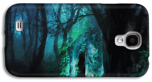 The Trees Mixed Media Galaxy S4 Cases - The Lovers Cottage By Night Galaxy S4 Case by Georgiana Romanovna