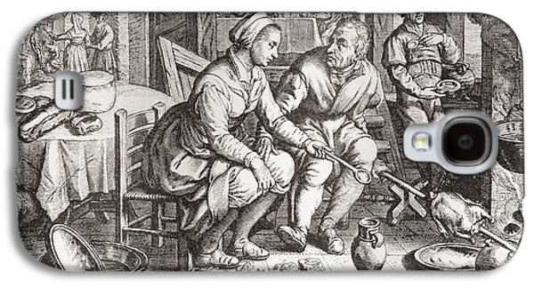 Spit Galaxy S4 Cases - The Loving Couple, After A 15th Century Engraving By J. Matham. From Illustrierte Sittengeschichte Galaxy S4 Case by Bridgeman Images