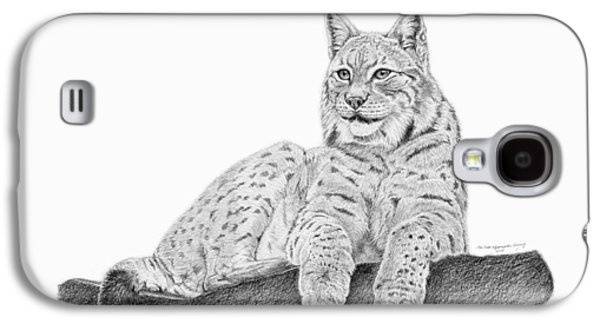 Bobcats Drawings Galaxy S4 Cases - The Lynx Galaxy S4 Case by Iren Faerevaag