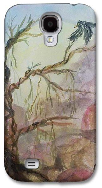 Mystical Landscape Mixed Media Galaxy S4 Cases - The Magic Tree Galaxy S4 Case by Ellen Levinson