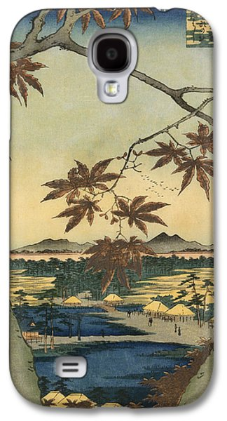 Maple Season Paintings Galaxy S4 Cases - The Maple Leaves of Mama Galaxy S4 Case by Utagawa Hiroshige