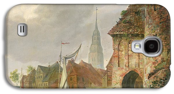 Sailboats In Harbor Galaxy S4 Cases - The March Gate in Buxtehude Galaxy S4 Case by Adolph Kiste