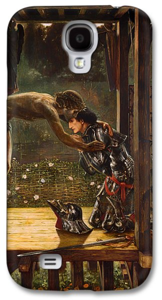 Christian work Paintings Galaxy S4 Cases - The Merciful Knight Galaxy S4 Case by Edward Burne-Jones