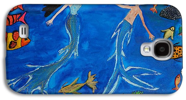 Golden Fish Paintings Galaxy S4 Cases - The Mermaid Couple Jive Dance Galaxy S4 Case by MS  Fineart Creations