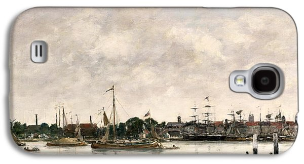 Sailboats At The Dock Galaxy S4 Cases - The Meuse at Dordrecht Galaxy S4 Case by Eugene Louis Boudin