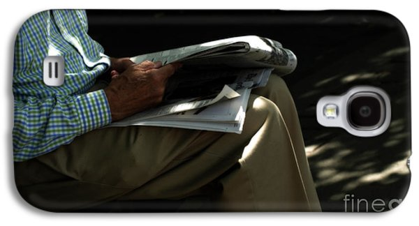 Old Man Digital Art Galaxy S4 Cases - The Morning Paper  Galaxy S4 Case by Steven  Digman