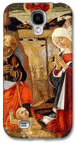 Holy Galaxy S4 Cases - The Nativity with the Annunciation to the Shepherds in the Distance Galaxy S4 Case by Benvenuto di Giovanni