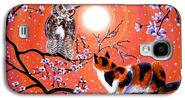 Nursery Rhyme Galaxy S4 Cases - The Owl and the Pussycat in Peach Blossoms Galaxy S4 Case by Laura Iverson
