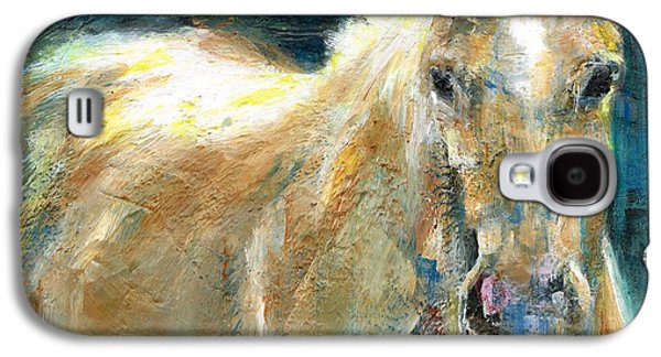 Blue Abstracts Paintings Galaxy S4 Cases - The Palomino Galaxy S4 Case by Frances Marino
