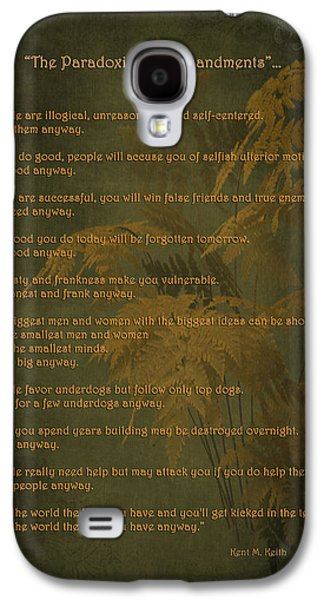 Self-improvement Galaxy S4 Cases - The Paradoxical Commandments Galaxy S4 Case by Maria Angelica Maira