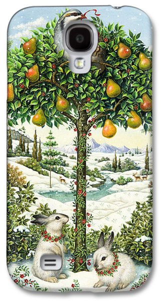 Snowy Day Paintings Galaxy S4 Cases - The Partridge in a Pear Tree Galaxy S4 Case by Lynn Bywaters