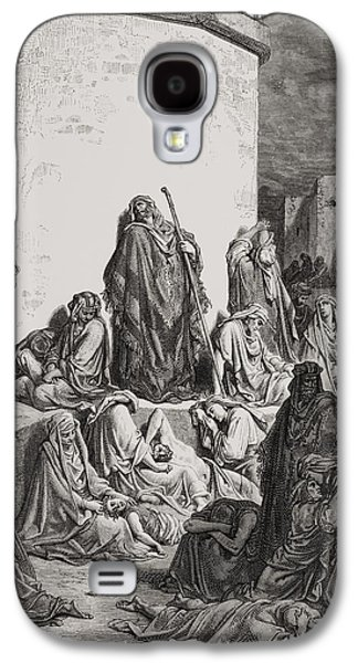 Religious Drawings Galaxy S4 Cases - The People Mourning over the Ruins of Jerusalem Galaxy S4 Case by Gustave Dore