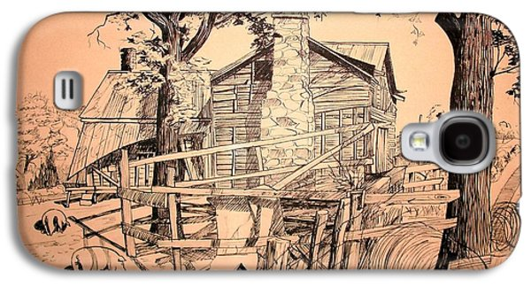 Old Barn Drawing Drawings Galaxy S4 Cases - The Pig Sty Galaxy S4 Case by Kip DeVore