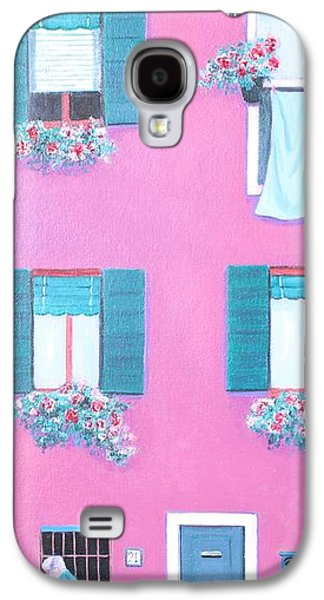 Laundry Paintings Galaxy S4 Cases - The Pink House with green shutters Galaxy S4 Case by Jan Matson