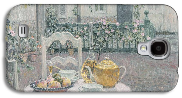 Wine Canvas Paintings Galaxy S4 Cases - The Pink Tablecloth Galaxy S4 Case by Henri Eugene Augustin Le Sidaner