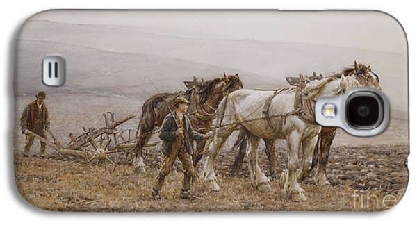 Mist Paintings Galaxy S4 Cases - The Ploughman Wilmington Polegate Near Eastbourne Galaxy S4 Case by Joseph Harold Swanwick