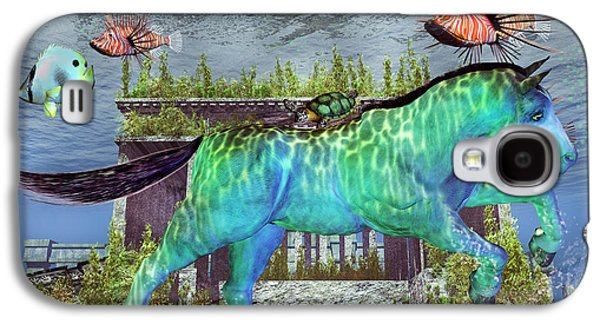 Aquatic Mixed Media Galaxy S4 Cases - The Pony Express Galaxy S4 Case by Betsy A  Cutler