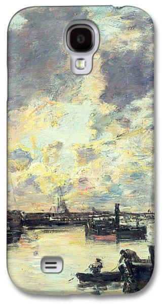 Docked Boat Galaxy S4 Cases - The Port Galaxy S4 Case by Eugene Louis Boudin